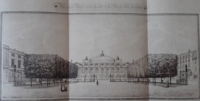 Vue sur le Théâtre prise du centre de la Place du Salin transformé. © Gilles Lacoste
