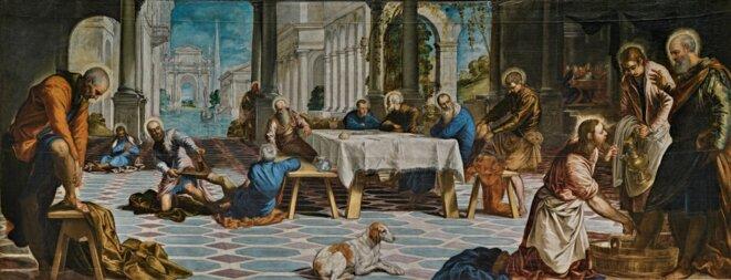 Le Tintoret, Lavement des pieds, 1548-1549, huile sur toile, 210 x 533 cm, Musée du Prado.