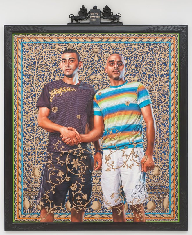 Kehinde Wiley, ABED AL ASHE AND CHALED EL AWARI, 2011, série The World Stage : Israël, huile sur toile, 2012 © Kehinde Wiley, courtesy Galerie Templon, Paris - bruxelles