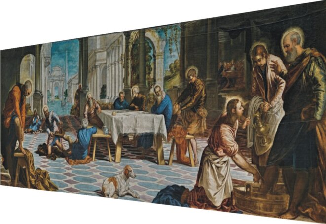 Le Tintoret, Lavement des pieds (vu par la droite), 1548-1549, huile sur toile, 210 x 533 cm, Musée du Prado.