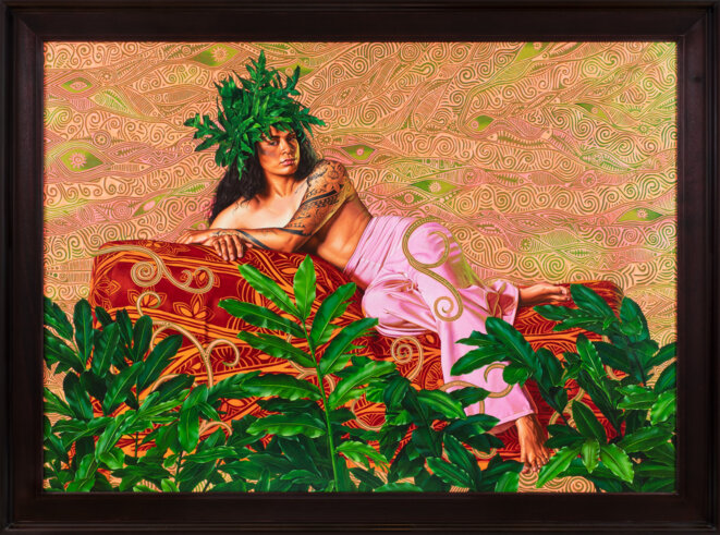 Kehinde Wiley, Tahiti, série The World Stage : France, huile sur toile, 2010. © Kehinde Wiley, courtesy Galerie Templon, Paris - bruxelles. Photo : Diane Arques