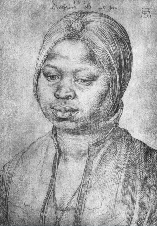 Portrait de l'Africaine Katherina, 1521, galerie des Offices, Florence.