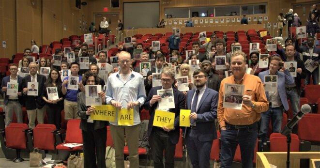 Une image prise au MIT à la suite d'une discussion ouverte avec des étudiants sur l'internement massif d'Ouïghours et d'autres musulmans turcs le 19 avril 2019.