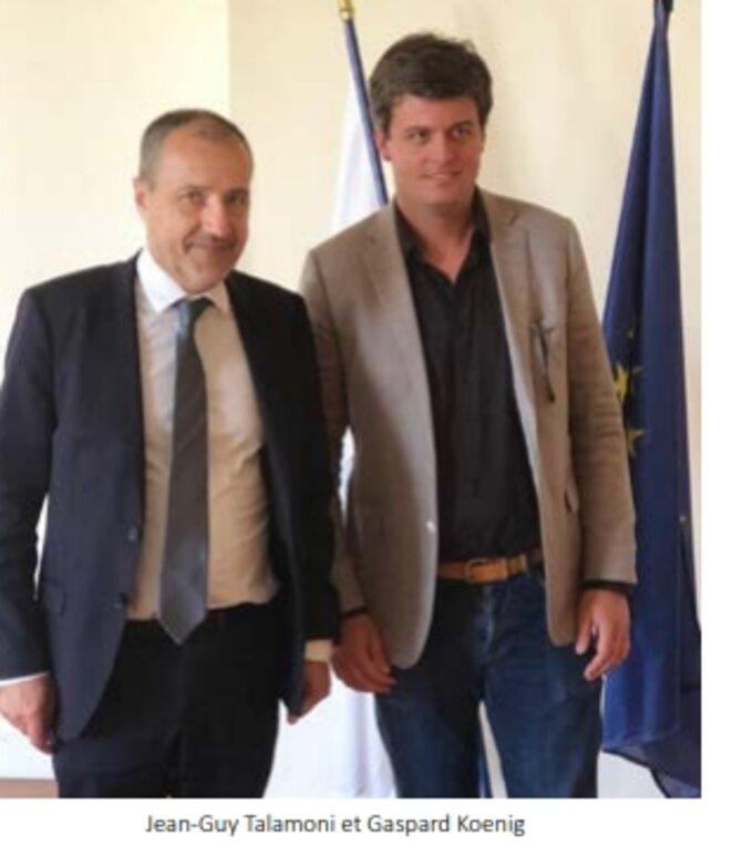 Jean-Guy Talamoni et Gaspard Koenig [Photo publiée dans le rapport d'activité 2018 de l'Assemblée de Corse]
