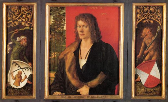 Le portrait d'Oswolt Krel, tryptique, Alte Pinakothek de Munich, 1499.