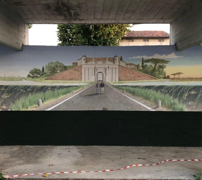 Détail de la fresque offerte par une association de pêcheurs à la ville de Palmanova