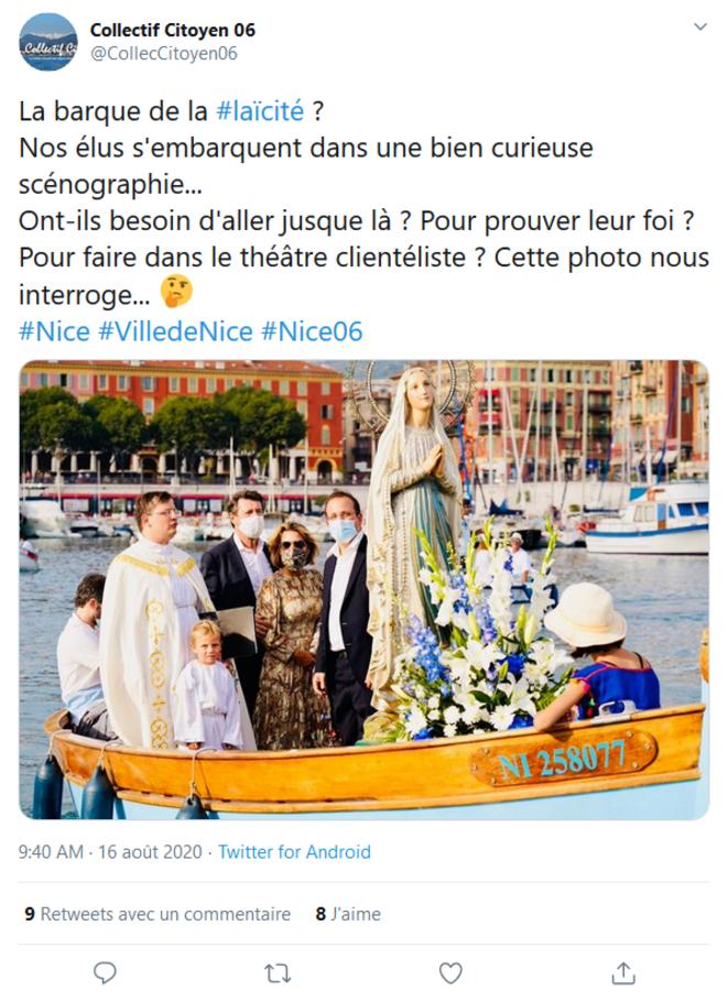 Traversée du port par la statue de la Sainte Vierge le 15 août à Nice © Collectif Citoyen 06