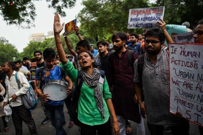 Manifestation contre l'UAPA à New Delhi le 30 août 2018. © Chandan Khanna/AFP