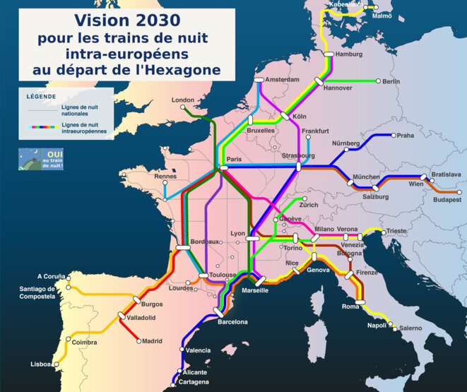 proposition de 15 nouveaux trains de nuit intraeuropéens au départ de la France