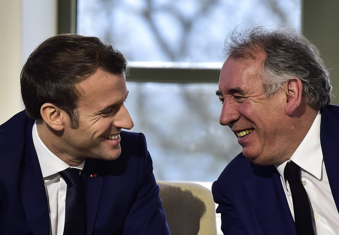Emmanuel Macron and his political ally François Bayrou in January 2020. © AFP