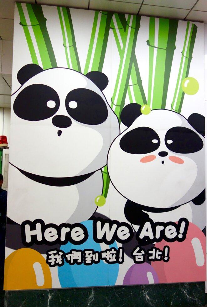 Une affiche représentant des pandas à Taipei, en novembre 2015. © Sonse/Flickr