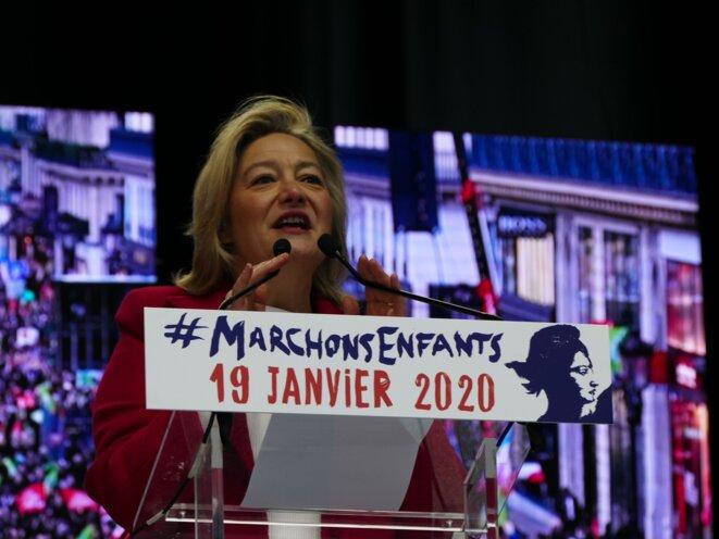 """Ludovine de La Rochère à la manifestation """"Marchons Enfants !"""" du 19 janvier 2020 à Paris. © Peter Potrowl"""
