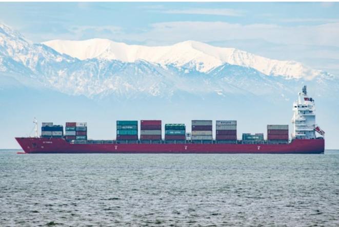 Navire bloqué en mer Egée le 7 avril 2020 © AFP