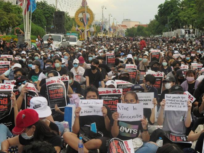 Les manifestants écrivent leurs messages dans plusieurs langues. © FK