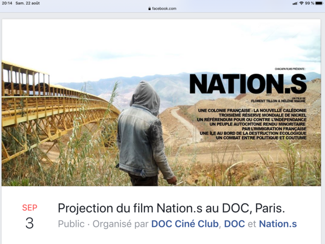 Projection du film NATION.S au DOC à Paris (75019) le 03 septembre.