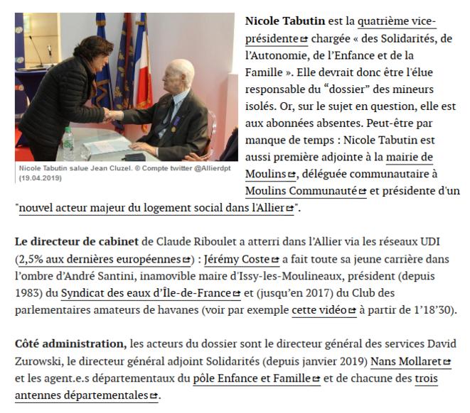 """Quelques autres acteur-rice-s (fantômes) du dossier. © Extrait du billet """"Mineurs isolés dans l'Allier: ce que dit Claude Riboulet"""""""