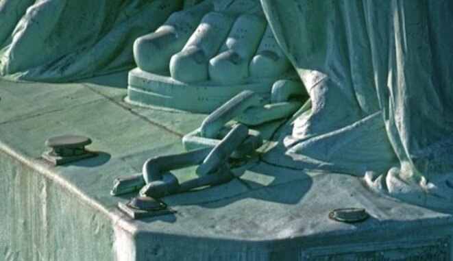 A close-up of part of the chains at the Statue of Liberty's feet. © National Park Service