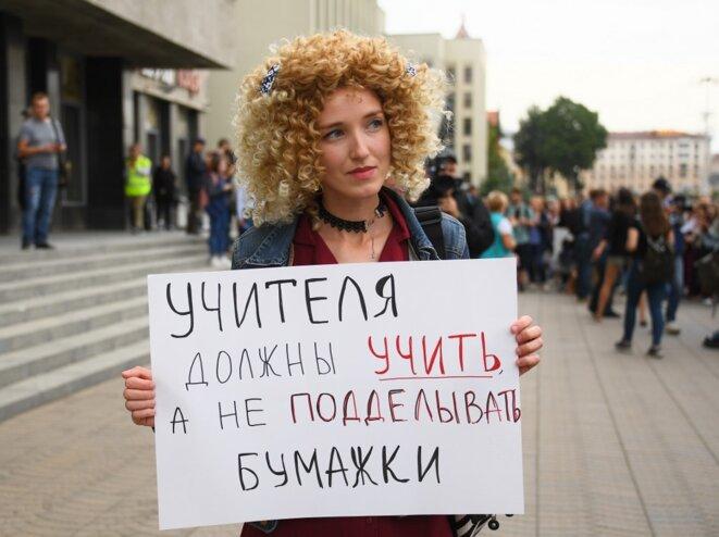 Manifestation le 25 août 2020. © Evgeny Odinokov /Sputnik/AFP