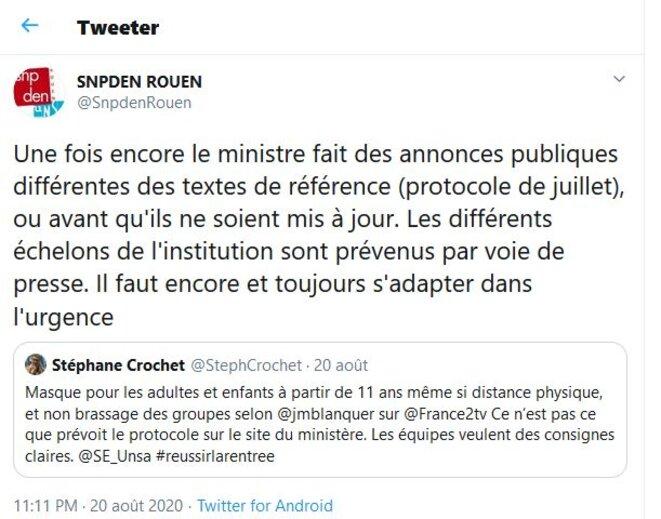 Copie d'écran Twitter (20/08/2020)