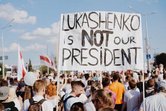 Manifestation en Biélorussie pour demander le départ de Loukachenko. © A.Podrez