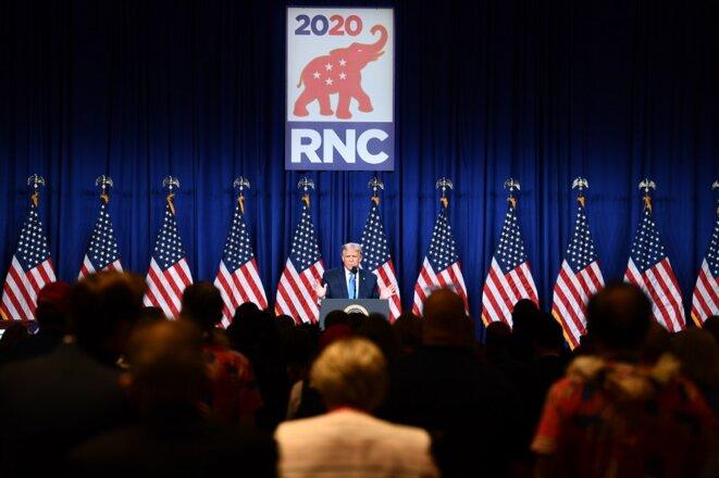 Donald Trump au premier jour de la Convention lundi 24 août. © Brendan Smialowski/AFP