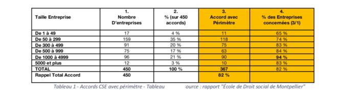 """Tableau 1 - Accords CSE avec périmètre - Tableau personnel d'après le Rapport """"Ecole de Droit social de Montpellier"""""""