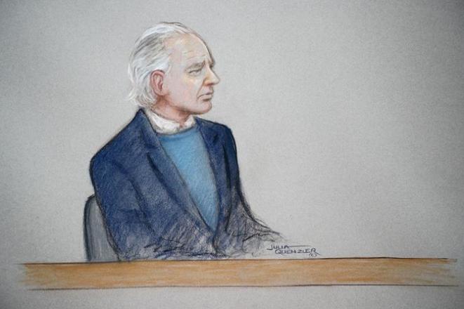 Un dibujo de Julian Assange durante una audiencia en octubre de 2019. © Reuters/Julia Quenzler/Handout