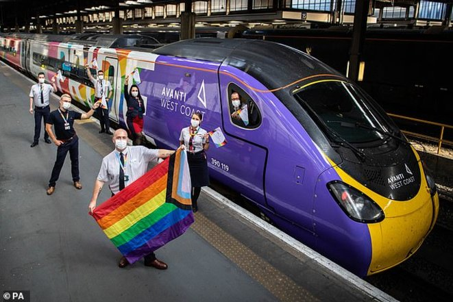 Avanti West Coast launched Britain's first fully-decorated Pride train recently, which made its first journey from London Euston to Manchester Piccadilly. © Daily Mail