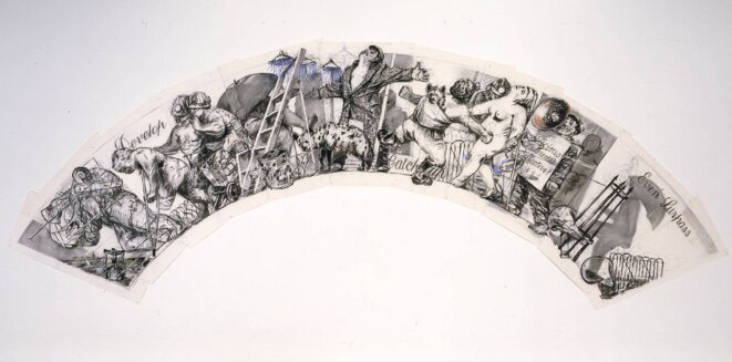 """William Kentridge, """"Arc/Procession: Develop, Catch Up, Even Surpasson"""", unique, Charcoal and pastel on paper Dimensions : frame: 2700 x 7480 mm, Provenance: Friends of the Tate Gallery and private benefactors 2000 © William Kentridge"""