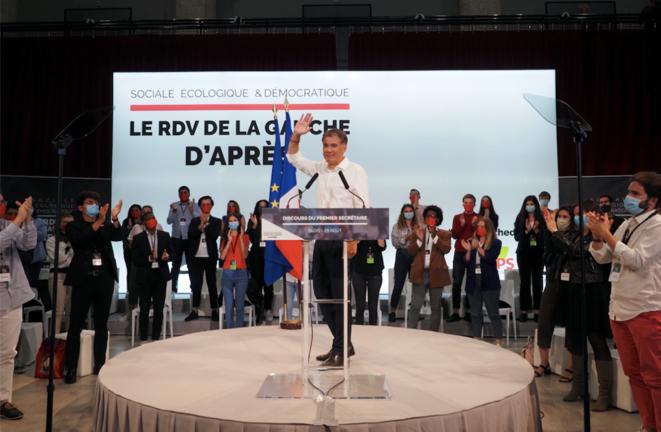Olivier Faure, lors de son discours à Blois, le 29 août. © Guillaume SOUVANT / AFP