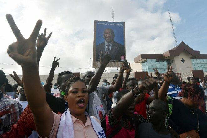 Des partisans de l'ex-président Laurent Gbagbo le 31 août 2020 à Abidjan. © Sia Kambou/AFP