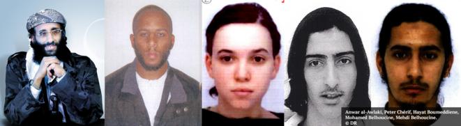 De gauche à droite : Anwar al-Awlaki, Peter Chérif, Hayat Boumeddiene, Mohamed Belhoucine, Mehdi Belhoucine. © DR