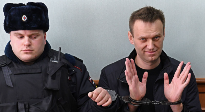 A. Navalny, lors d'une de ses arrestations à Moscou. © AFP