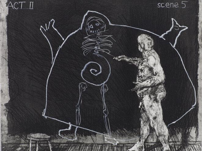 William Kentridge, Ubu Tells the Truth, 1996-1997. Eau-forte, aquatinte et pointe sèche. Courtesy de l'artiste. © William Kentridge, 2020. Photo : Studio Kentridge, Thys Dullart.