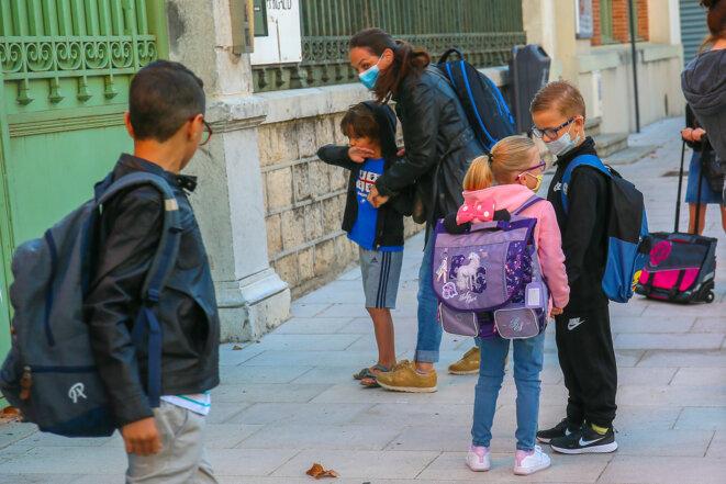 La rentrée des classes dans une école primaire à Valence, le 1er septembre 2020. © Nicolas Guyonnet / Hans Lucas / Hans Lucas via AFP