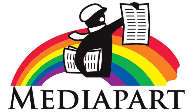 Logo Mediapart aux couleurs de l'arc-en-ciel