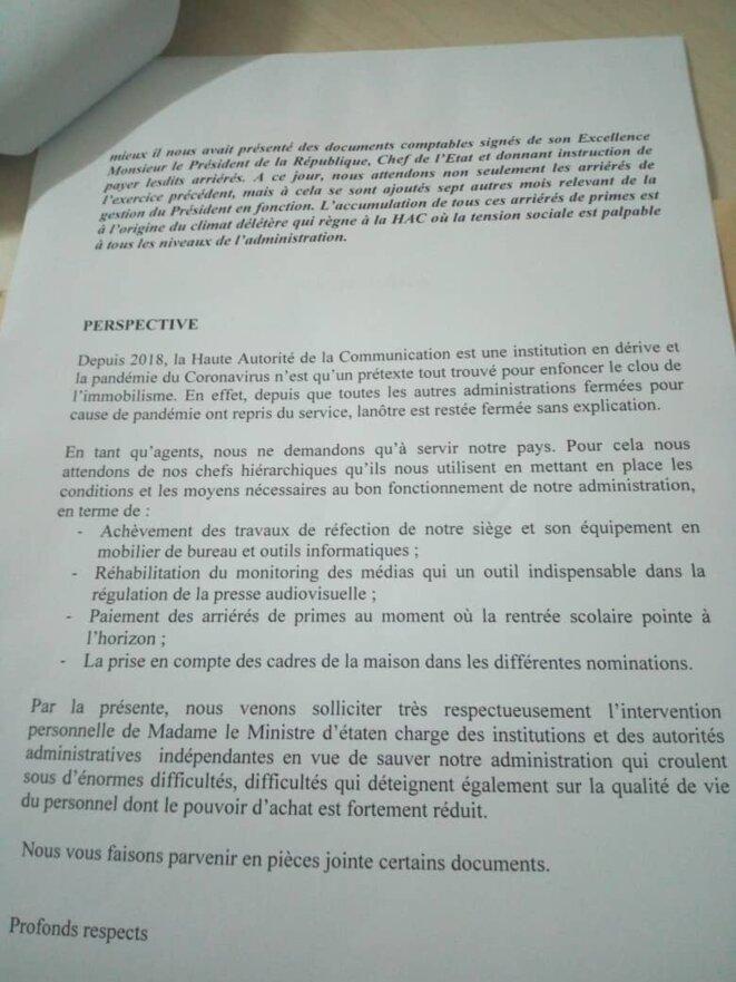 HAC : COURRIER  adressé à Mme Denise Mekamne, Ministre en charge des relations avec les institutions