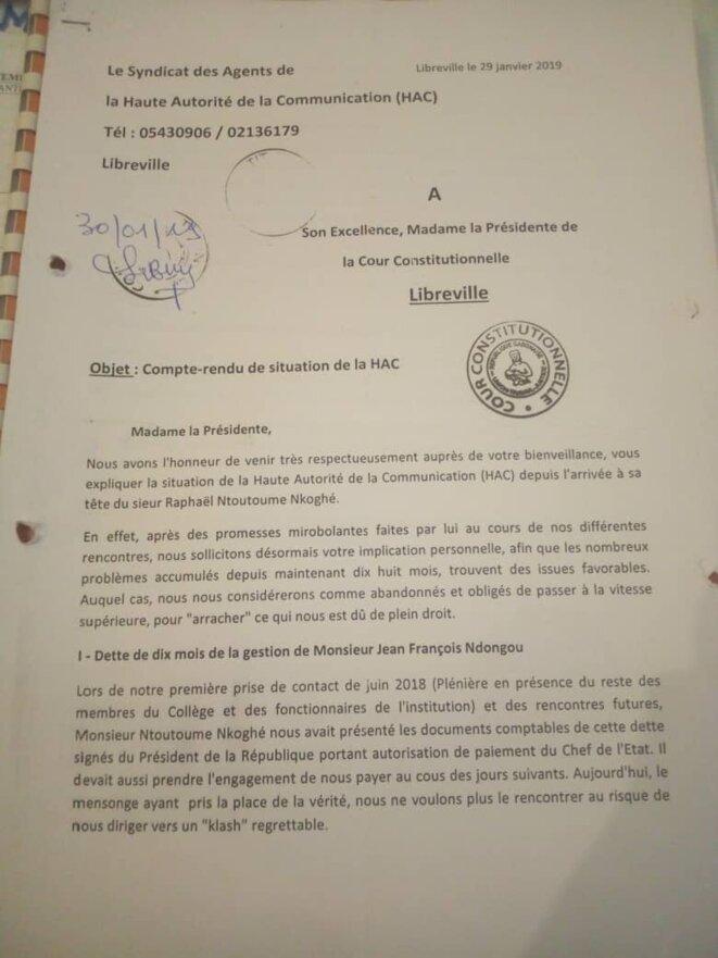 HAC : COURRIER adressé à la cour constitutionnelle dirigée par Mme Marie Madeleine Mborantzuo