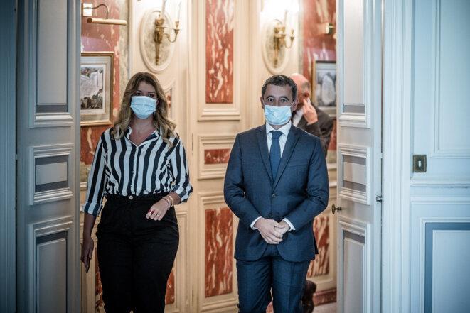 Marlène Schiappa et Gérald Darmanin, le 30 août 2020, au ministère de l'intérieur. © Arthur Nicholas Orchard / Hans Lucas via AFP