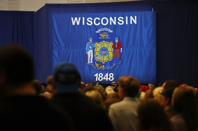 Un meeting de Trump en 2016 à Waukesha, dans le Wisconsin. © Spencer Platt/Getty Images North America/AFP