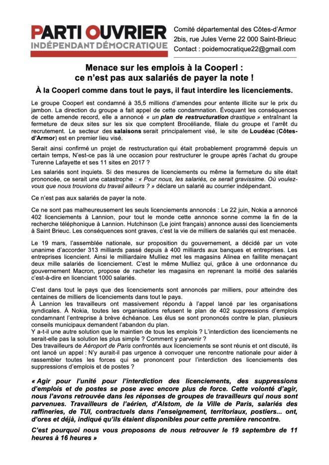 Invitation rencontre nationale interdiction des licenciements