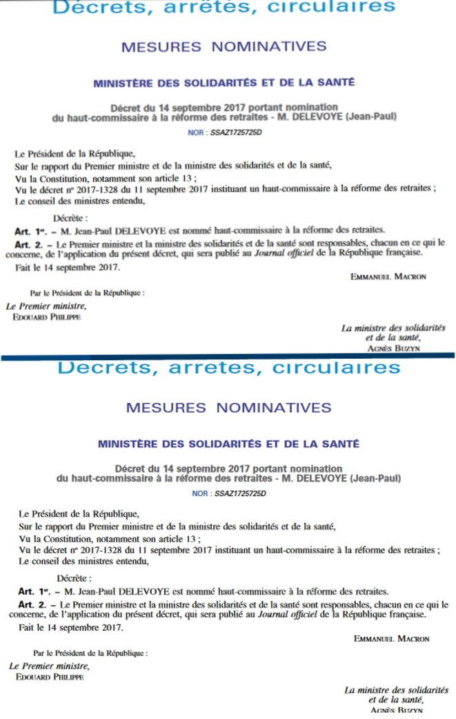 Décrets de 2017 instituant un haut-commissariat aux retraites et y nommant Jean-Paul Delevoye (non-membre alors du Gouvernement). © Captures d'écran du Journal officiel de la République française.