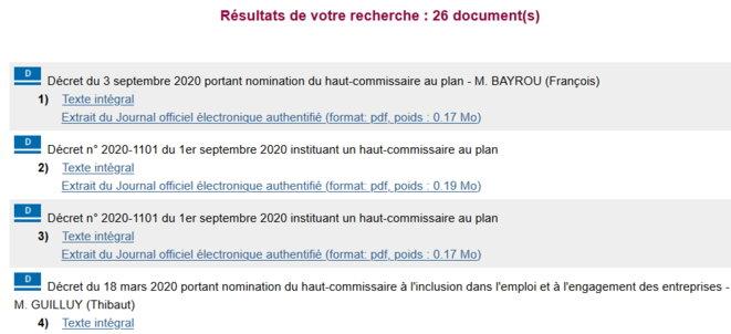 Recherche Légifrance sur les décrets concernant les hauts-commissaires entre mai 2017 (investiture d'E. Macron) et le 10/09/20. Décret instituant les emplois, nommant ou mettant fin aux fonctions.