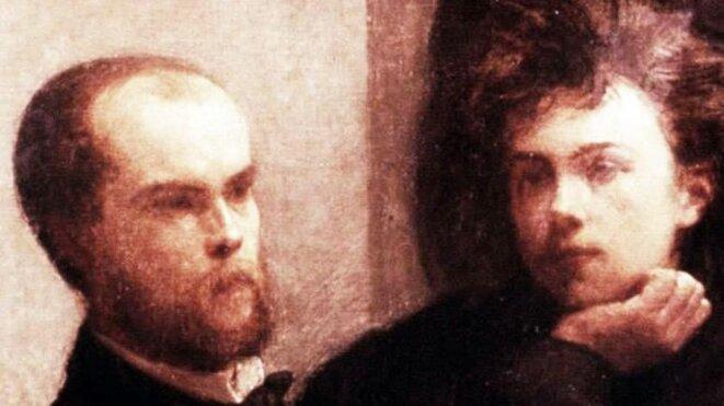 Verlaine et Rimbaud, détail du tableau «Un Coin de table» d'Henri Fantin-Latour