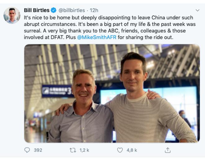 Los dos periodistas australianos que han tenido que dejar China. © Twitter
