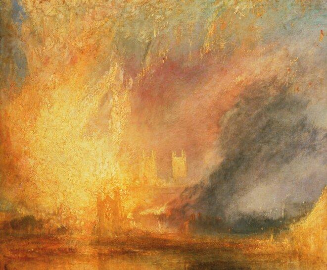 Turner, incendie du parlement de Londres 1834 (détail)