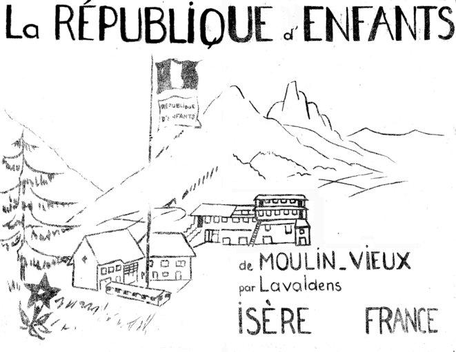 Dépliant sur la République d'enfants de Moulin-Vieux. © Fonds Ferrière, archives de l'Institut Jean-Jacques Rousseau