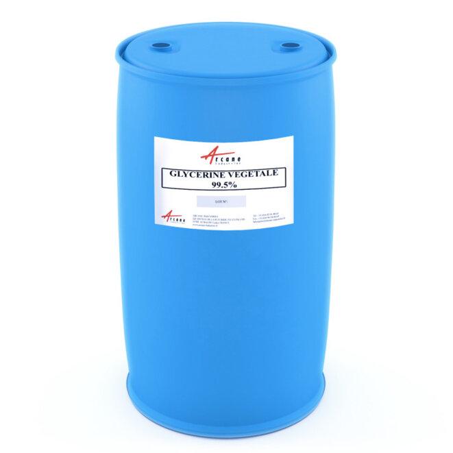 Un fut de 250kg de Glicérine, composant principal des crèmes, pour environ 2.30€ le kilo, numéro CAS 56-81-5 © Arcane Industries