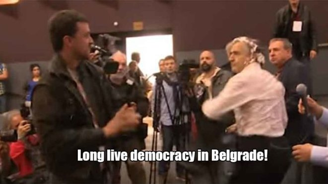 """Murderer, leave Belgrade! Bernard-Henri Lévy advocates imperialist murders!"" –French philosopher gets pied in face in Belgrade, 2017"