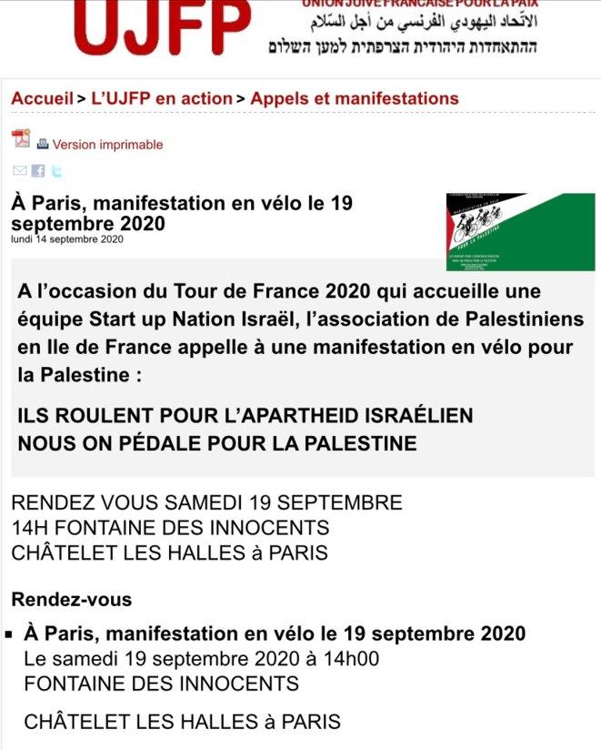 MANIFESTATION À VÉLO À PARIS: ILS ROULENT POUR L'APARTHEID ISARËL - NOUS PÉDALONS POUR LA PAIX © E'M.C.